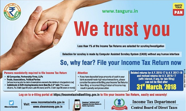 Are You File your Income Tax Return 31st March 2018 is the
